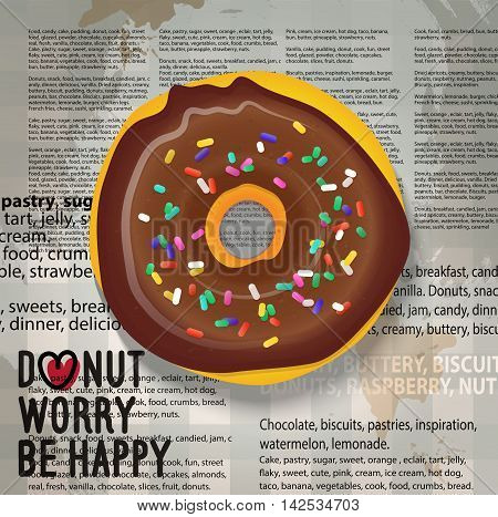 Glazed chocolate doughnut with sprinkles on the newspaper background.