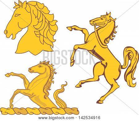 Set of heraldic horse figures. Vector illustrations.
