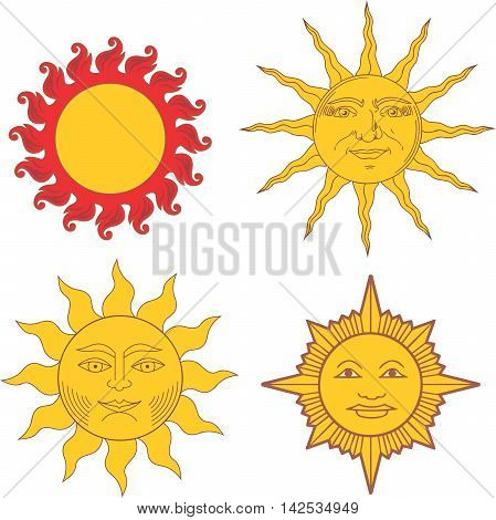 Set Of Heraldic Suns And Solar Signs