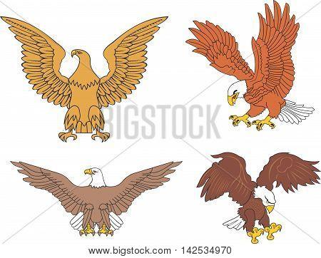 Set Of Symbolic U.s. Eagles