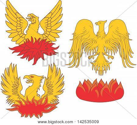 Set Of Heraldic Phoenix Birds