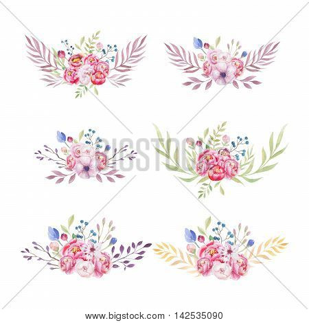 Watercolor colorful ethnic set of bouquet flowers in native American floral style.Tribal Navajo isolated boho illustration on white background. Indian Watercolour flower illustration.