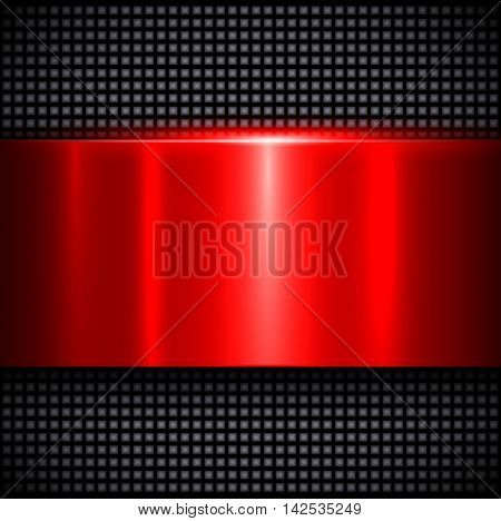 Metal background, polished metallic red texture, vector illustration