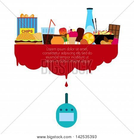 Diabetes Vector illustration Glucose meter and set of harmful foods Forbidden foods in diabetes Flat design