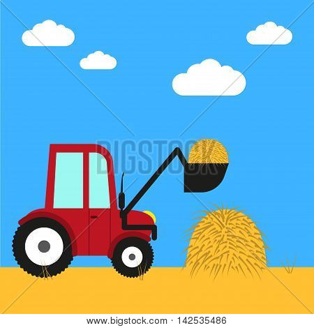 Farm equipment Vector illustration Tractor removes hay from the field Flat design