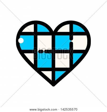 Thin line Oktoberfest Heart of the Bavarian flag colors, Traditional German Festival outline logos, vector illustration
