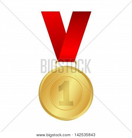 Gold medal winner of the prize-winner on a red ribbon. vector illustration