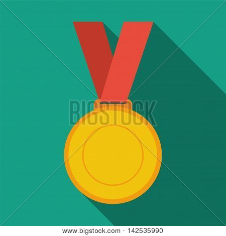 Gold medal winner of the prize-winner on a red ribbon. Flat icon with long shadow. vector illustration
