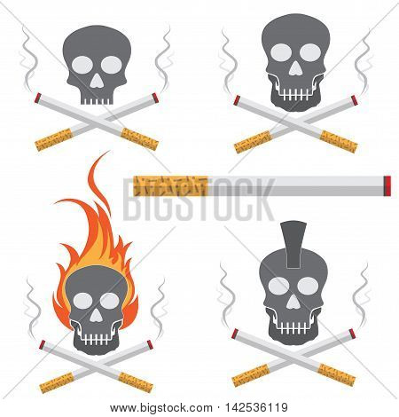 Skull smoking cigarette with smoke. Social issues smoking addiction concept