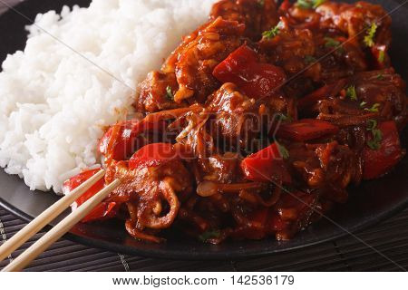 Rice With Stewed Pork In Sweet And Sour Sauce Closeup. Horizontal
