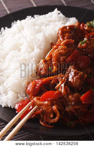 Rice With Stewed Pork In Sweet And Sour Sauce Closeup. Vertical