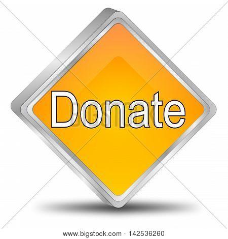 glossy orange Donate Button - 3d illustration