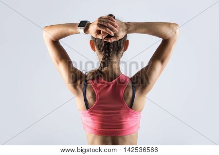 Back View Of Sporty Girl With Athletic Body