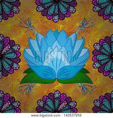 Oriental pattern yellow curl background with blue lotus. Mandala. Vector illustration.