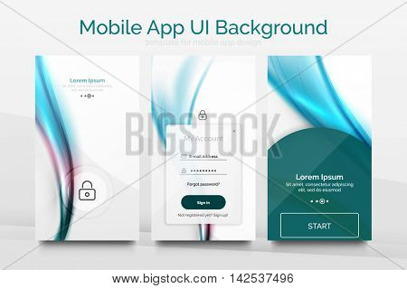 Mobile application interface background, user interface - UI. Smartphone screen mockup gui - wave pattern