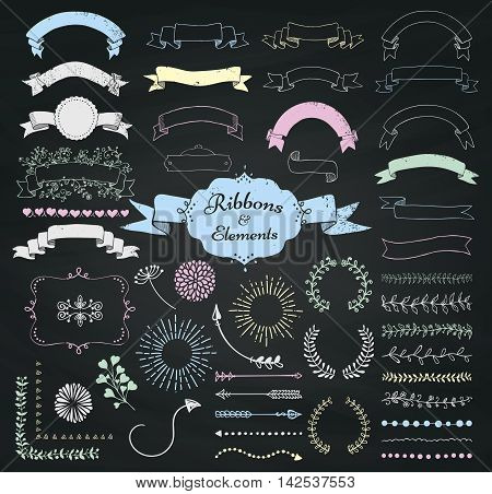 Set of Chalk Drawing Doodle Sketched Rustic Decorative Wedding Design Elements and Ribbons on Chalkboard Background. Grunge Textured Ribbons. Vintage Vector Illustration.