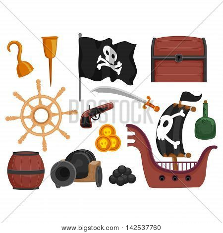 Vector Illustration of Different  Set of Pirate Elements