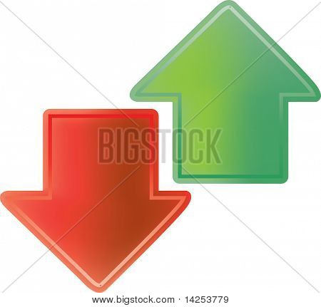 vector illustration of red and green arrows