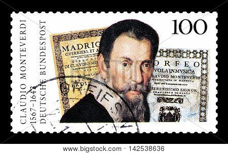 GERMANY - CIRCA 1993 : Cancelled postage stamp printed by Germany, that shows Claudio Monteverdi.