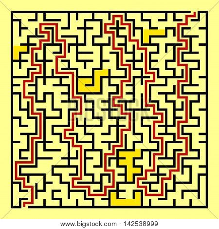 Black square maze(24x24) with help on a yellow background