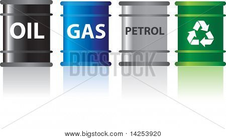 different types of fuels labelled in barrels with reflection