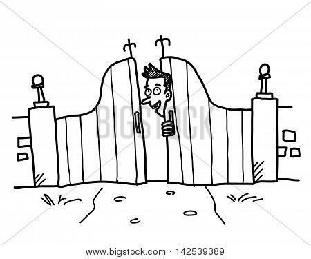 Behind the Gates of Curiosity. A hand drawn vector cartoon illustration of a guy peeking inside of the gates.