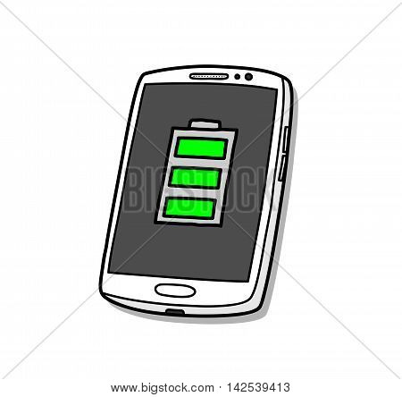 Battery Full Smartphone. A hand drawn vector illustration of a battery full smartphone.