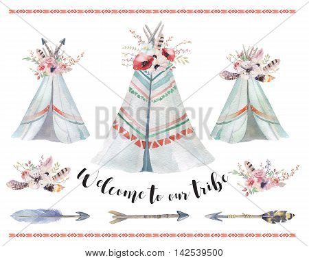 Handdrawn watercolor tribal teepee isolated white campsite tent. Boho America traditional native ornament. Indian tee-pee with arrows and feathers