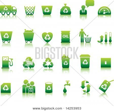 Eco icon set illustrated as green buttons
