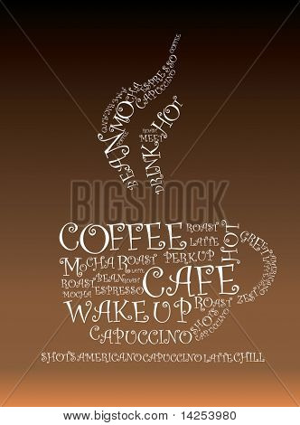 Illustration of words froming a hot cup of coffee