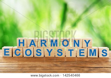 Text harmony ecosystems on wooden blocks. Ecological concept.