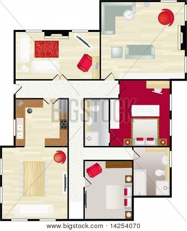 Typical floor plan of a house in color with furnishings