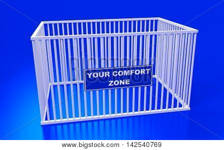 The cage and write text: Your comfort zone. 3D rendering