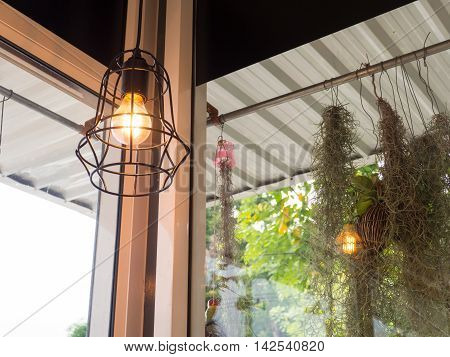 Edison's light bulb and lamp in modern style. Warm tone light bulb lamp. Lamps in coffee shop.