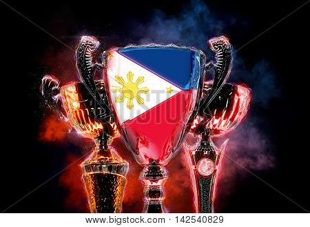 Trophy cup textured with flag of Philippines. 2D Digital illustration.