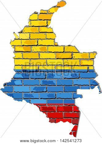 Colombia map on a brick wall - Illustration,   Colombian map with flag inside,  Grunge map and Colombia flag on a brick wall