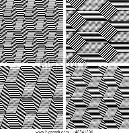 Zigzag patterns. Seamless textures set. Vector art.