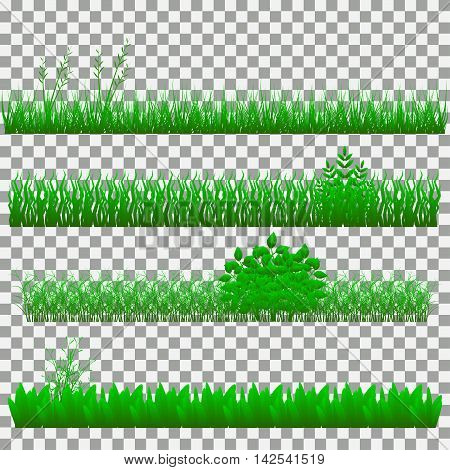 Set of grass vector illustration. Green grass and bushes