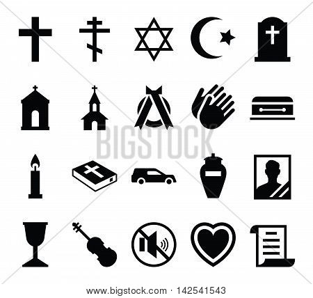 Set of vector icons cemetery and funeral and a funeral accessories