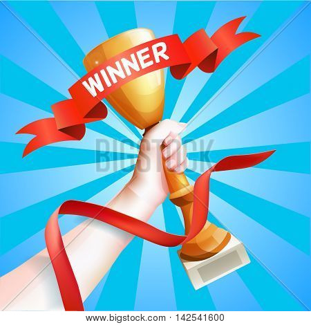 Hand Holding Up Trophy. Vector Winner Cup Illustration with Red Winner Ribbon.