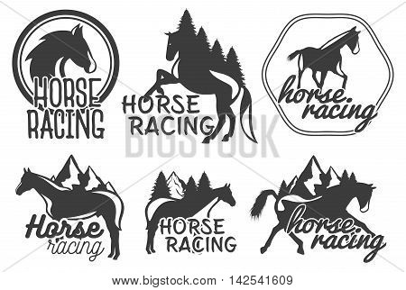Vector set of horse racing labels in vintage retro style. Design elements, icons, logo, emblems and badges isolated on white background
