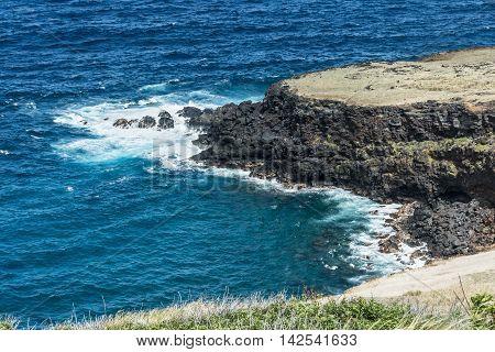 View of the lava coast along Honuapo Bay in Big Island, Hawaii