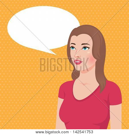 Stock vector illustration of a portrait of a young brunette woman thinks thought or said about something looking up