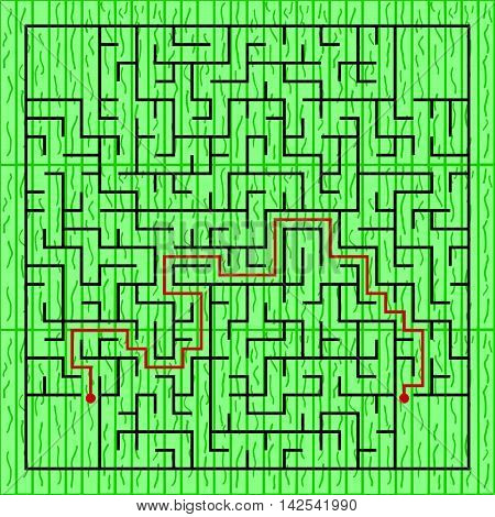Black square maze(24x24) with help on a green background