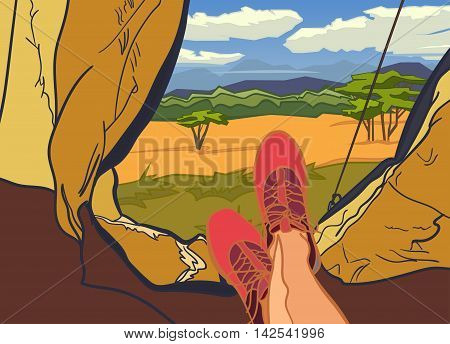 Vector illustration on themes nature of Africa, safari, noon in Savannah, hunting, camping, trip. Sports, Camping, outdoor recreation adventures in nature vacation Camping tent