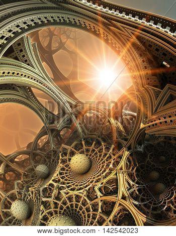 Abstract background, fantastic 3D  structures, fractal design.