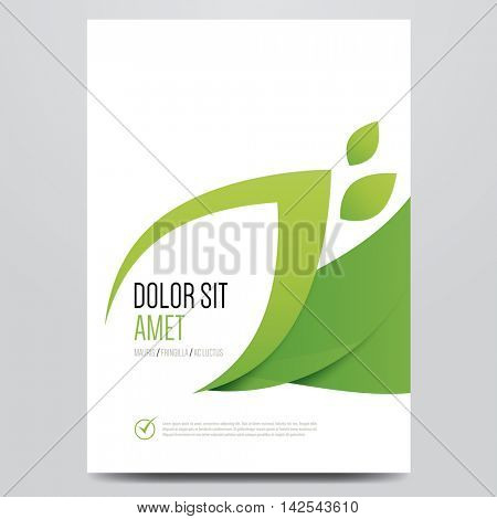 Green eco brochure, flyer, magazine cover, poster template. Modern vector leaf, environment design.