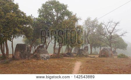 Plain of Jars on a foggy morning, Laos, Asia