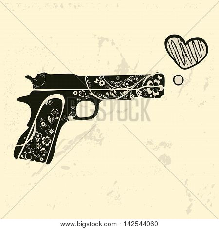 Love gun. Vintage emblem with gun shooting a heart. vector illustration
