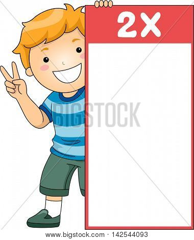 Illustration of a Little Boy Hiding Behind a Multiplication Flash Card for Multiples of Two